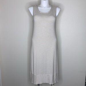 Chico's stripe tan and white tank scoop neck dress